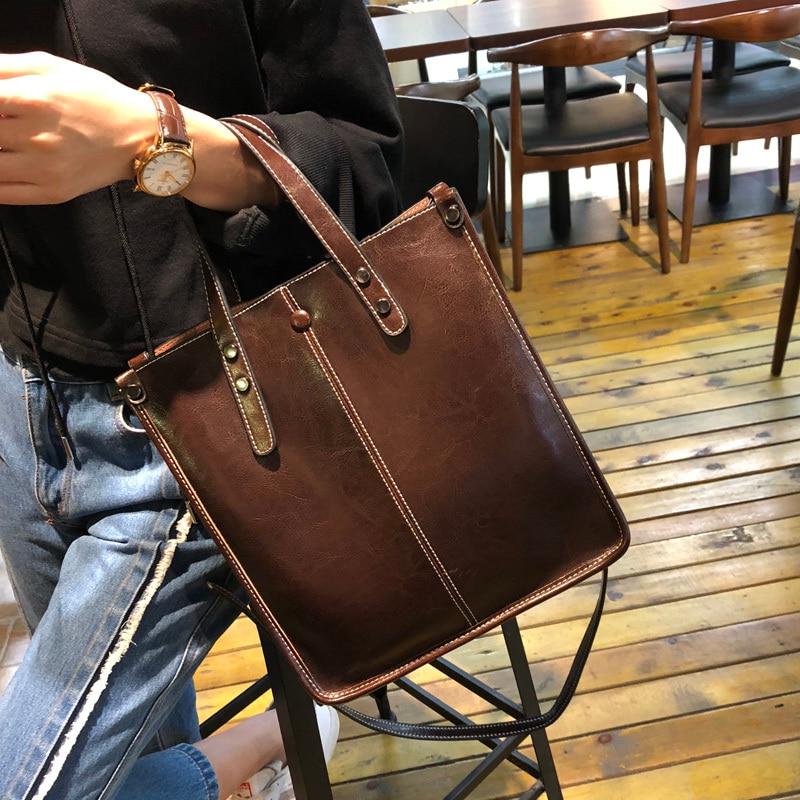 Kajie 2019 Vintage Genuine Leather Handbag Fashion Casual Shoulder Crossbody Bags For Women Tote Handbags Top-handle SacKajie 2019 Vintage Genuine Leather Handbag Fashion Casual Shoulder Crossbody Bags For Women Tote Handbags Top-handle Sac