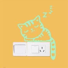 купить!  Творческий световой переключатель наклейки зеленый свет милый котенок световой переключатель