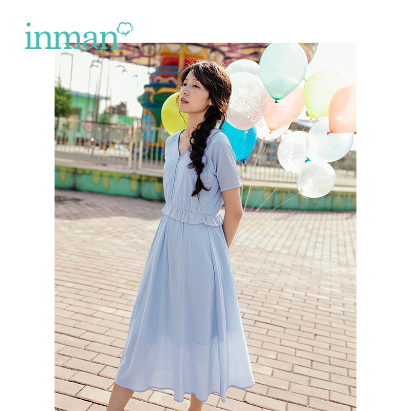 INMAN Summer New Arrival Cotton Solid Lace V-neck Splicing A-line Women Dress