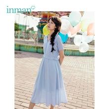 فستان نسائي صيفي جديد من INMAN مصنوع من القطن سادة ورقبة على شكل v وربطة على شكل حرف a