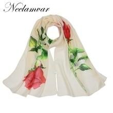 Neelamvar chiffon scarf rose flower print women's scarf silk muslim lady brand design autumn pattern cape shawl wrap cachecol rose bush pattern gossamer scarf