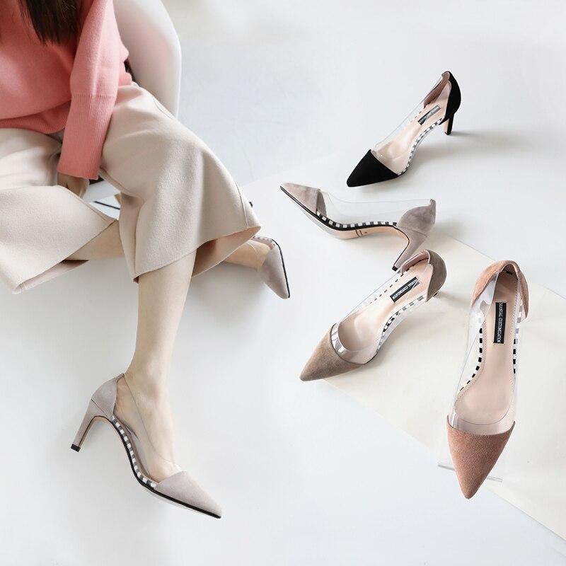 5 7 Emballage Cm khaki gray Pompes Chaussures Slip Talons Black Cuir Style brown Femmes on Boîte Femme Robe D'été Transparent Hauts Pompe En De Véritable S150 wFERqIn4t