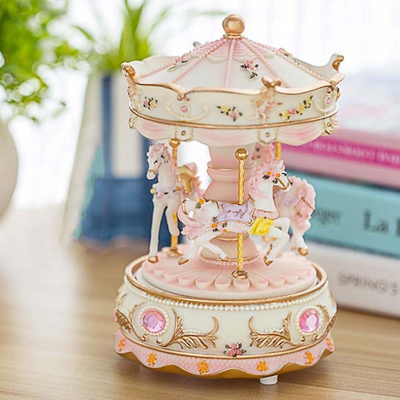 Carousel Shape Music Box With Light Musical Box Decoration For Kids Children Girls Christmas Birthday