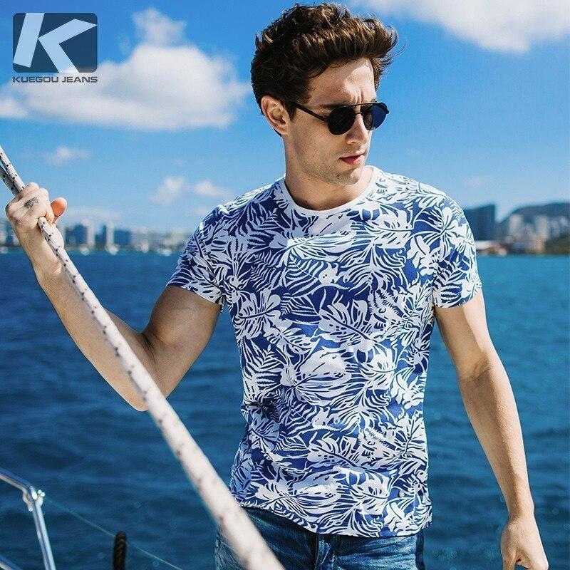 Comprar KUEGOU New Verão Mens T Camisas Casual 100% Algodão Estampado Azul  Cor Cinza Desgaste do Homem de Manga Curta T shirt Masculina marca de T  8631 ... 07a2ccc0f3b73