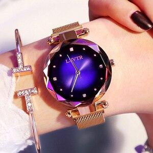 Image 3 - 2019 luksusowe różowe złote zegarki kobiety bransoletka moda diamentowa sukienka damska Starry Sky magnetyczny zegarek kwarcowy relogio feminino