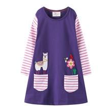 Girl Dresses Long Sleeve 2019 Brand solid Cotton Baby Dress Kids clothing Animal Appliques A-line Dress Princess Vestido 2-7T