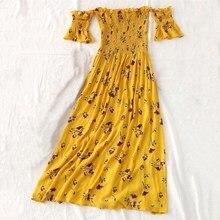 Fashion Female Slash Neck Short Sleeve Midi Dress Summer Bohemian Floral Print A-Line Dresses