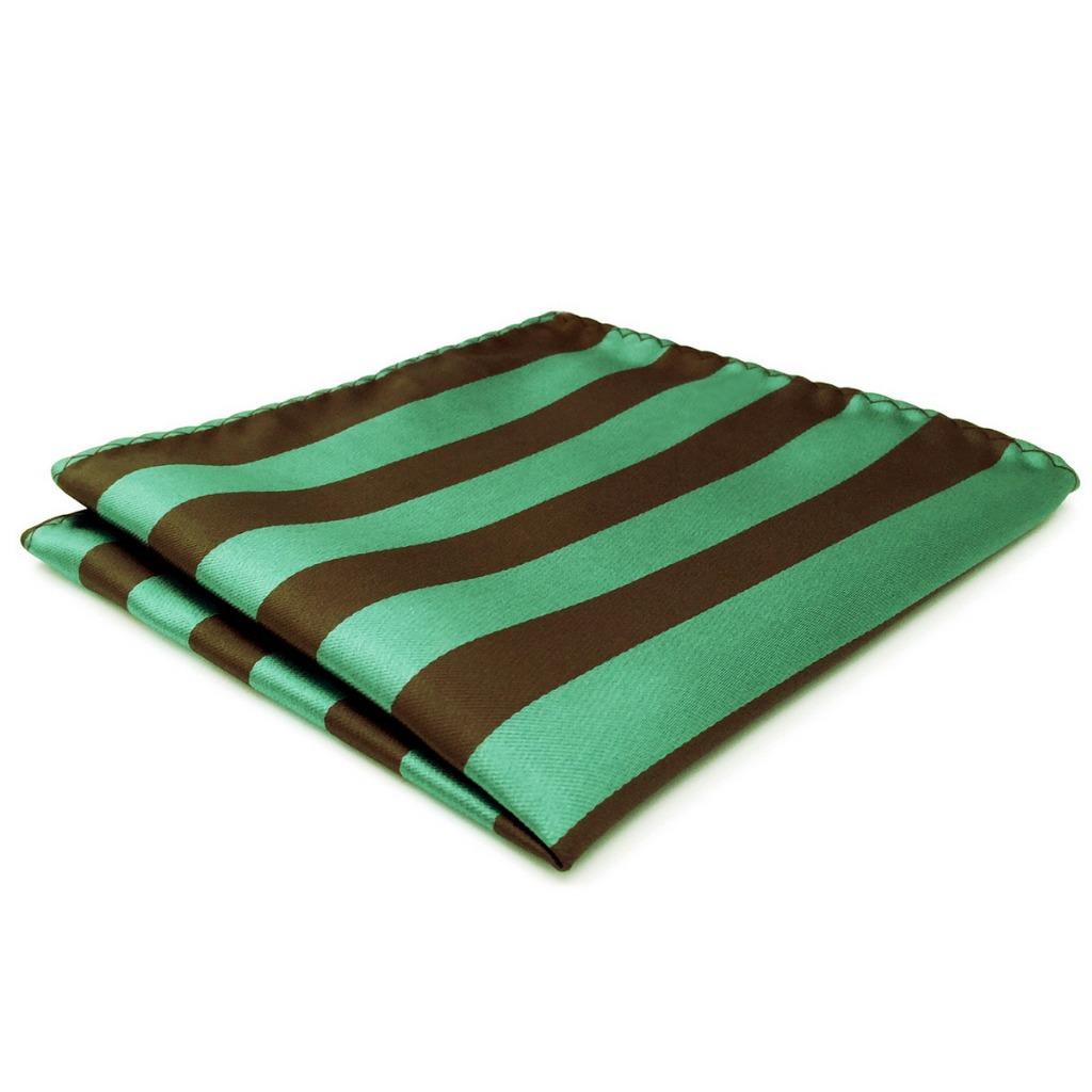 CH27 Green Brown Striped Mens Mens Pocket Square Fashion Classic Handkerchief Dress Novelty Accessory Hanky