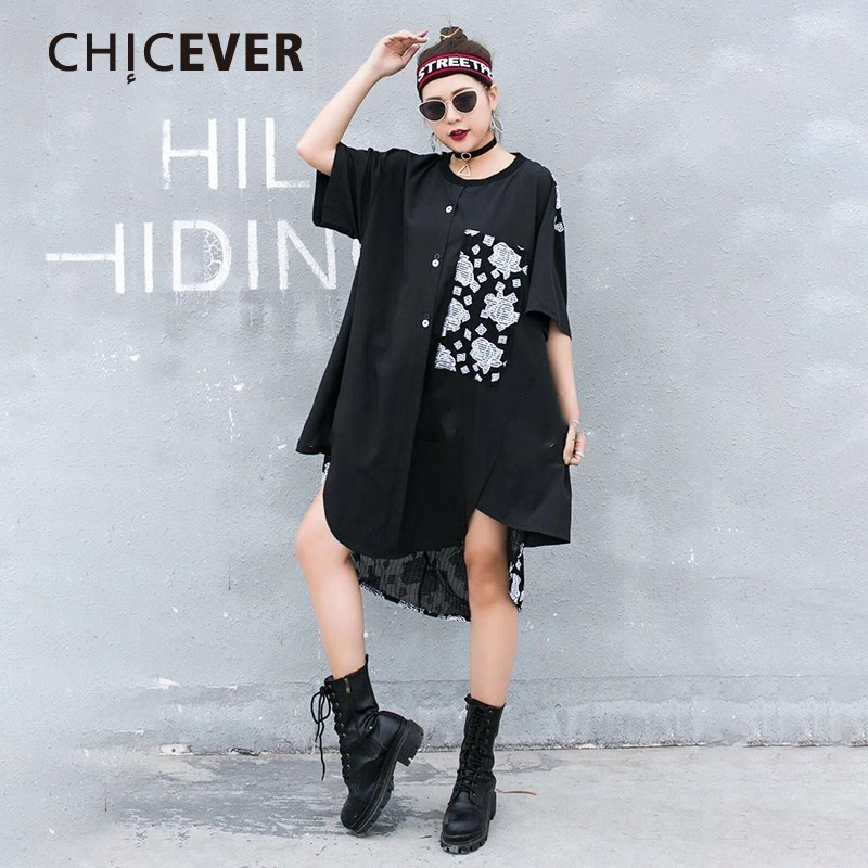 CHICEVER Spring Sweet Flower Print Lace Hem Women Dress O Neck Short Sleeve Button Loose Oversize Female Dresses 2019 Fashion