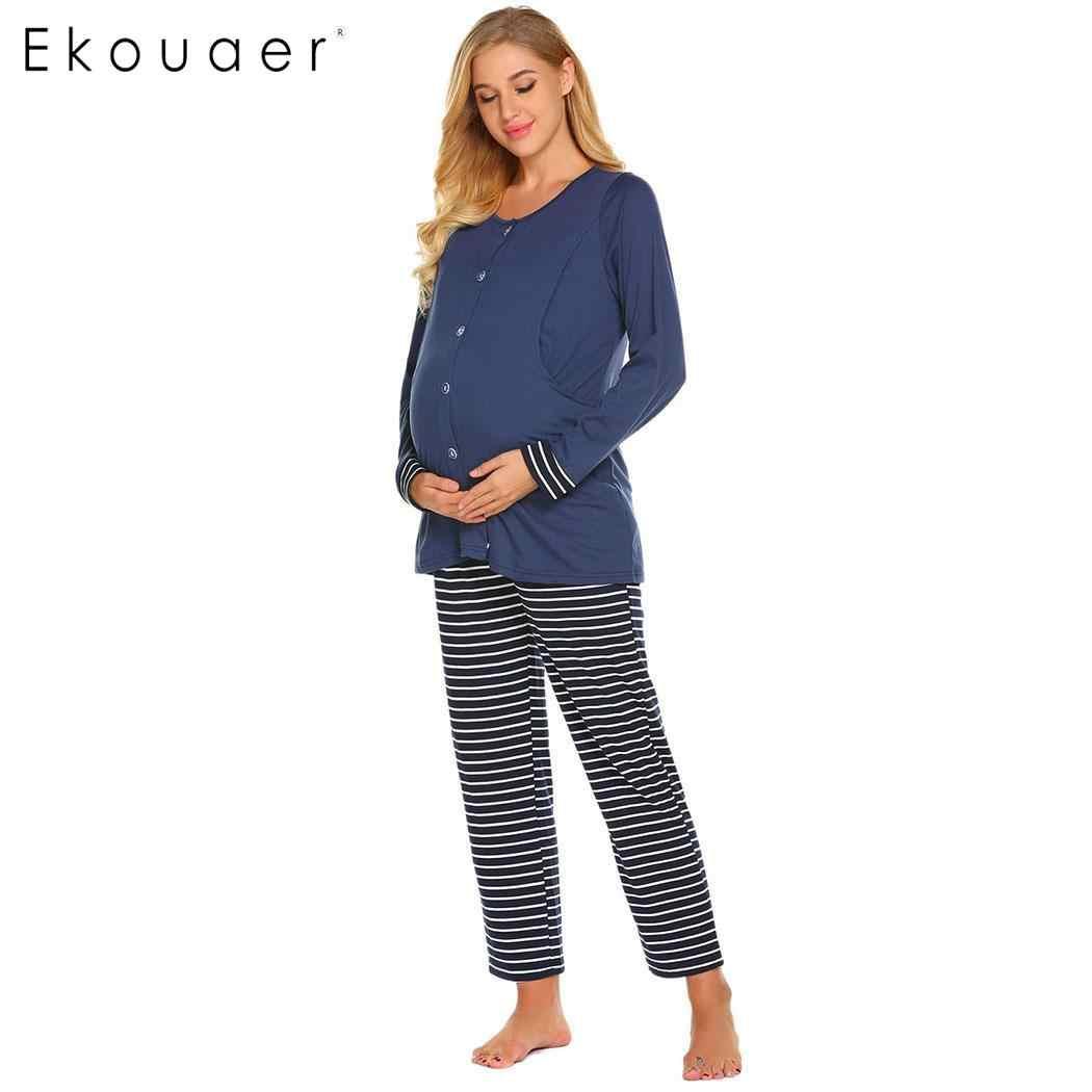 637c7ef4fc Ekouaer Women Long Sleeve Pajamas Set Pregnant Breastfeeding Maternity Sleepwear  Pajama Sets Winter Autumn Striped Pyjamas