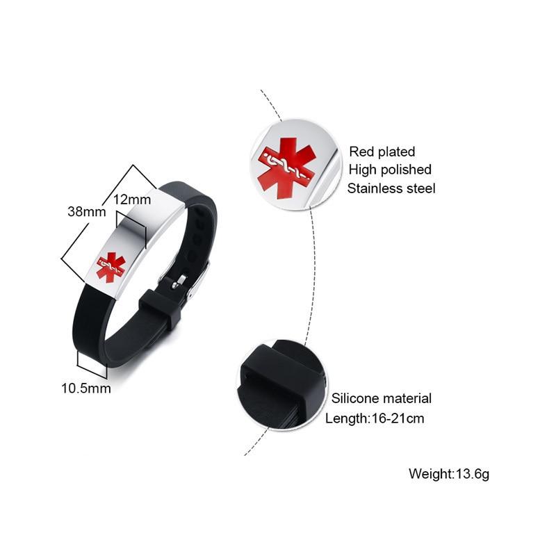 Vnox Engravable Medical Alert ID Bracelet DIABETES EPILEPSY ALZHEIMER'S ALLERGY SOS Women Men Personalized Jewelry