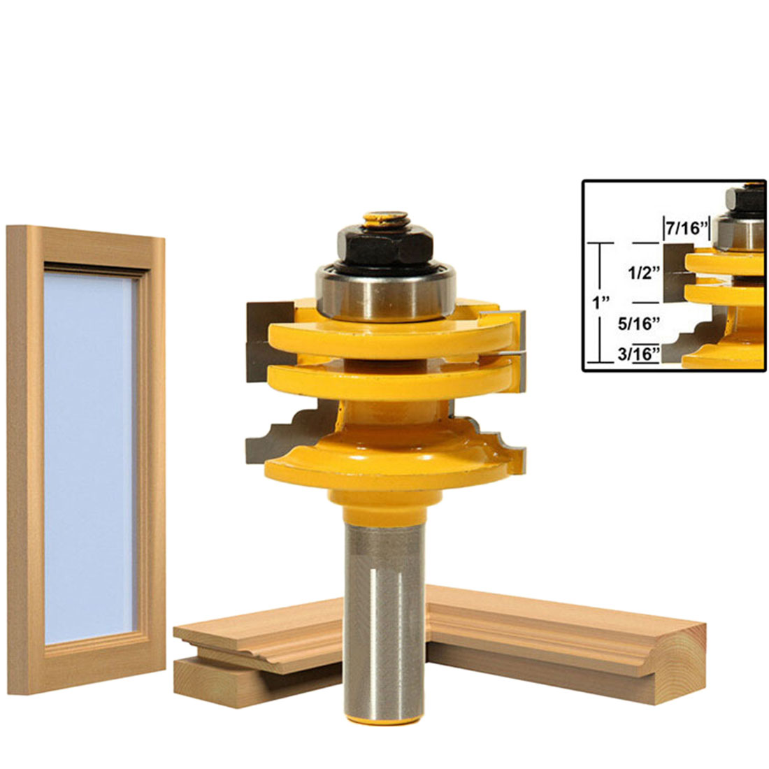 1/2 Inch Carbide Shank Carving Wood Milling Cutter Window Frame Glass Door Router Bit Mill Woodworking Trimming Tools