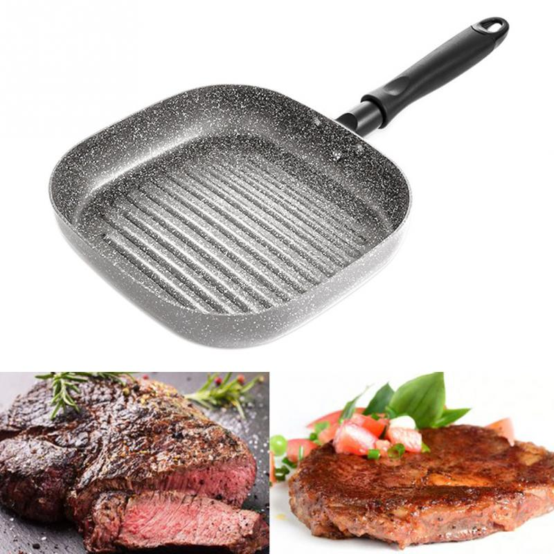 Universal Home Kitchen Steak Meat Grill Striped Pan Easy Clean Non-stick Frying Griddle Aluminum Bakelite