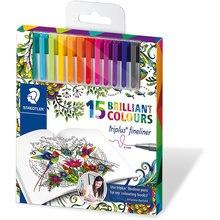 Набор капиллярных ручек Triplus, 15 цветов, яркие цвета, Johanna Basford, Staedtler
