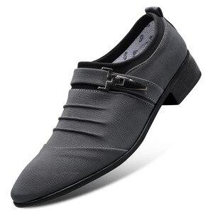 Image 4 - UPUPER/большие размеры 38 47; Свадебные туфли для мужчин; 2020; Модные парусиновые модельные туфли с острым носком; Мужские черные оксфорды без шнуровки; Официальная мужская обувь