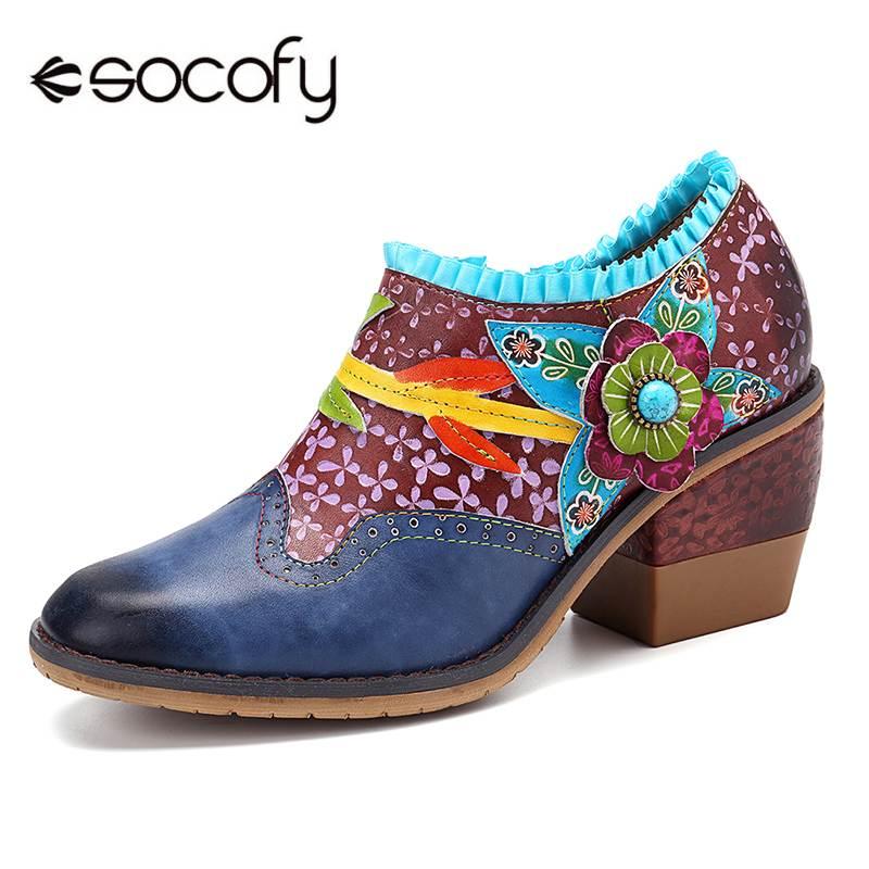 SOCOFY w stylu Vintage Bohemia prawdziwej skóry koniczyny wzór łączenie kolorowy kwiatowy koronkowy suwak wygodne pompy akcentem buty w Buty damskie na słupku od Buty na  Grupa 1