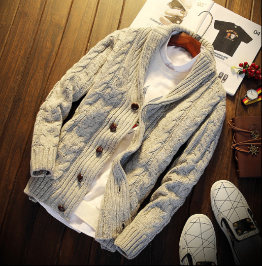 Sweater Men Autumn Winter Zip Casual Long Sleeve Slim Pocket Fit  Jacket Coat Jumper Mens Wear Sweaters  Cardigans