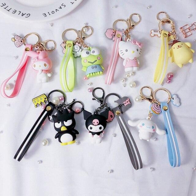 5a4b6d08e 1 Pc Creative Sanrio Series My Melody Pudding Cinnamoroll Dog Hello Kitty  Keychain Bag Pendant Keyring