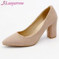 Lasyarrow 2019 Plus Size Women Block High Heels Bridal Valentine Suede Pumps Ladies Pointed Toe Gold Silver Heels Female Shoes