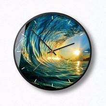 New 3D Wall Clock Sea And Sunset Series HD Modern Design Metal Silent Movement Large Size Home Decoration