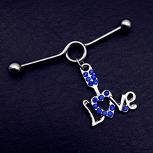 US $1.2 |1pcs Top Quality blue love heart gold   Fashion Earring 316L Stainless Steel Industrial Piercing Barbell Body Jewelry-in Stud Earrings from Jewelry & Accessories on AliExpress - 11.11_Double 11_Singles' Day