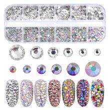 12 Grids/Box Colorful Crystal Nail Art Rhinestones Acrylic Stones Flat Back Shiny Tips 3D Nails Decorations