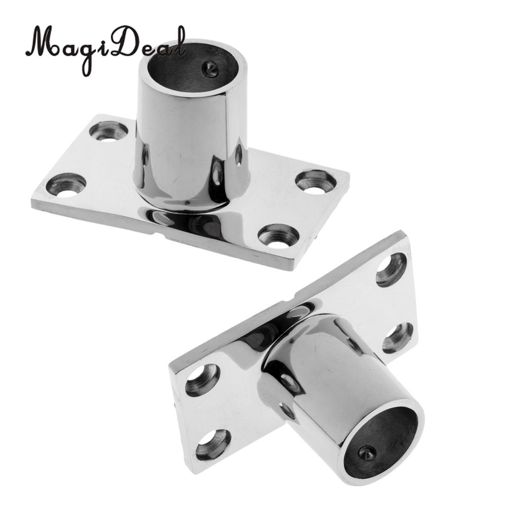 Durable 2x Boat Hand Rail Fitting 90 Deg 1' Stanchion Base Marine Stainless Steel For Kayak Canoe Boat Dinghy Yacht Accessories