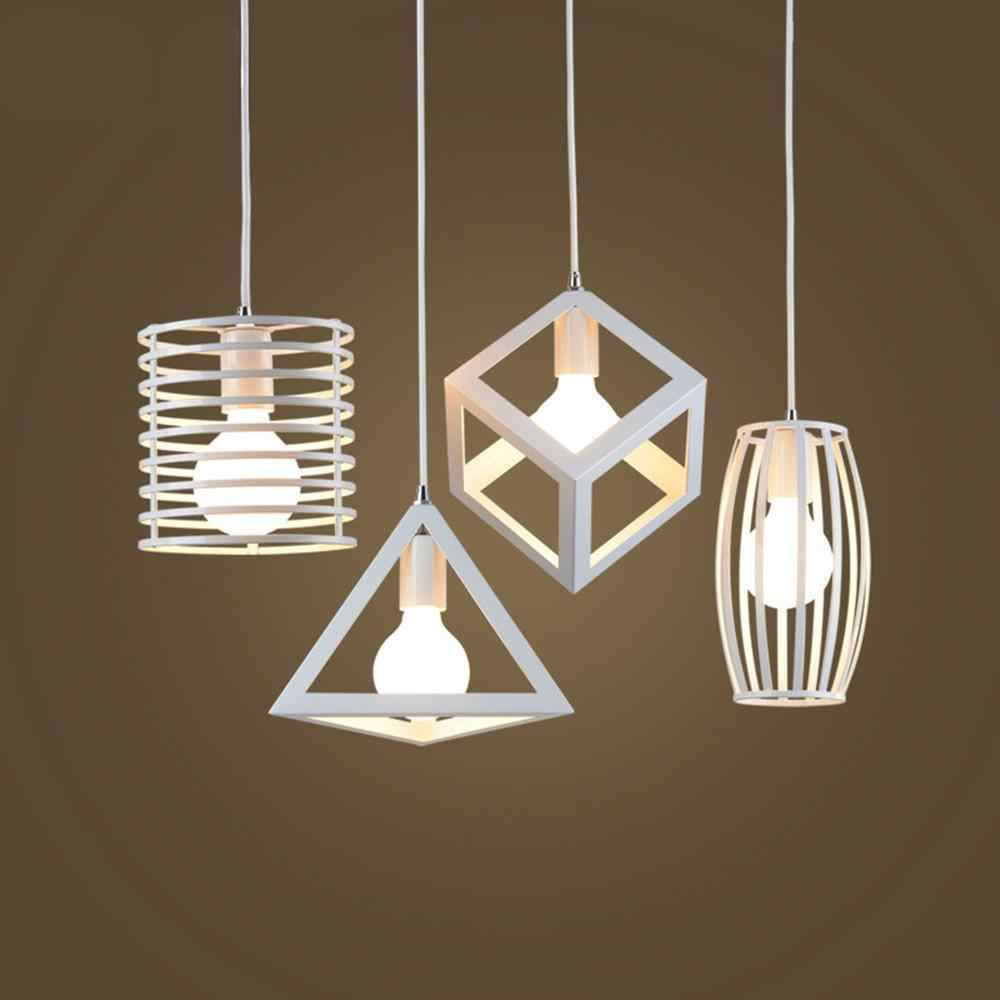 Geometrical White Iron Art Lampshade for Restaurant Lighting E27 110-220V (No Bulb)