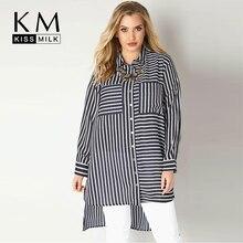 Kissmilk Plus Size Casual blue and white striped blouse slim asymmetrical ladies shirt