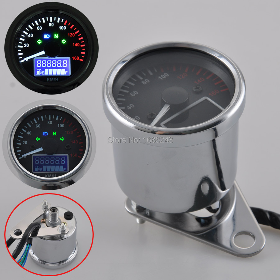 New Universal 0~160KM/H Motorcycle Digital LED LCD Speedometer Tachometer Speed Gauge Retro Chrome image