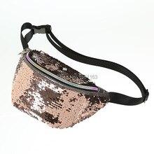 Women Reversible Mermaid Sequins Glitter Waist Bag Females Travel Money Phone Fanny Shoulder Satchel Packs