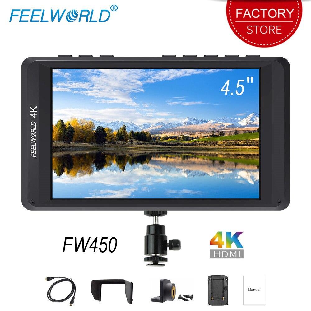 Feelworld FW450 4.5 pouces DSLR Caméra moniteur de terrain IPS Petit HD 1280x800 4 K HDMI Entrée Sortie léger Portable moniteurs lcd