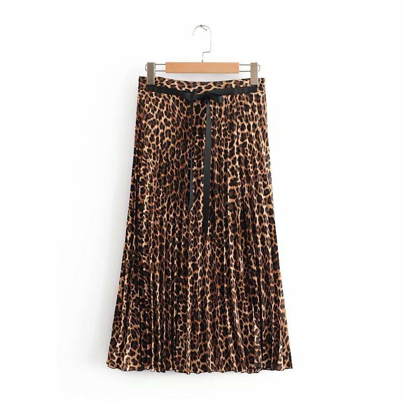 2019 Leopard Pleated Skirt with Bow Belt High Street Women Animal Print Midi Skirts 3