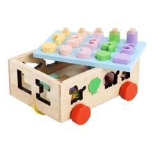 Детская Математика монтессори игрушка раннее Развивающие деревянные цифровой формы познавательный, на поиск соответствия игрушка головоломка животное трейлер автомобиль строительный блок