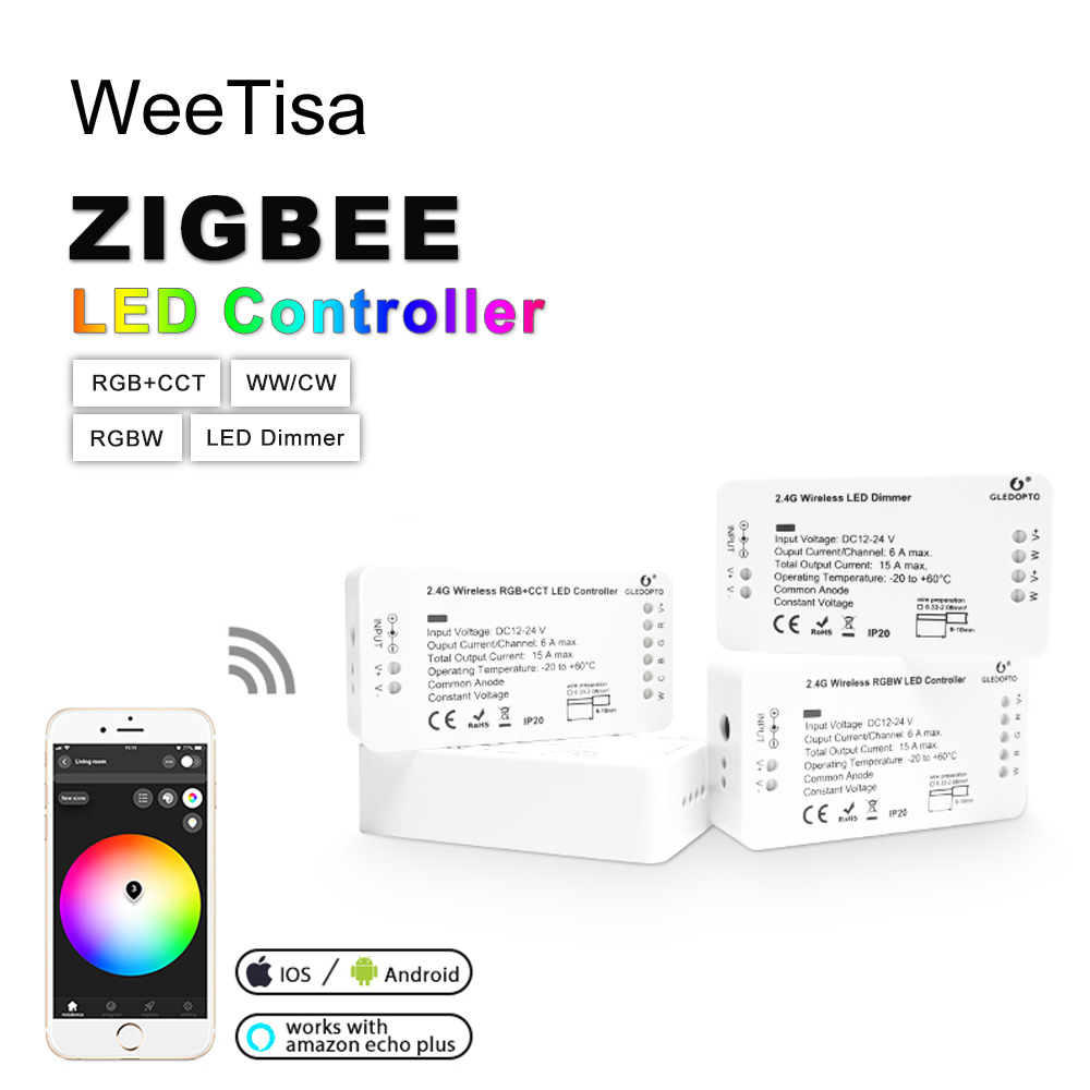 ZIGBEE LED Controller RGB RGBW RGBCCT WW CW DC 12V 24V LED Strip Single Color Dimmer Smart Controller Zll APP Controller