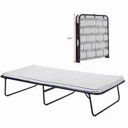 Panana składane metalowe łóżko z materacem biuro Nap solidna stalowa sprężynowa rama podstawy na kemping Outdoor lekki na