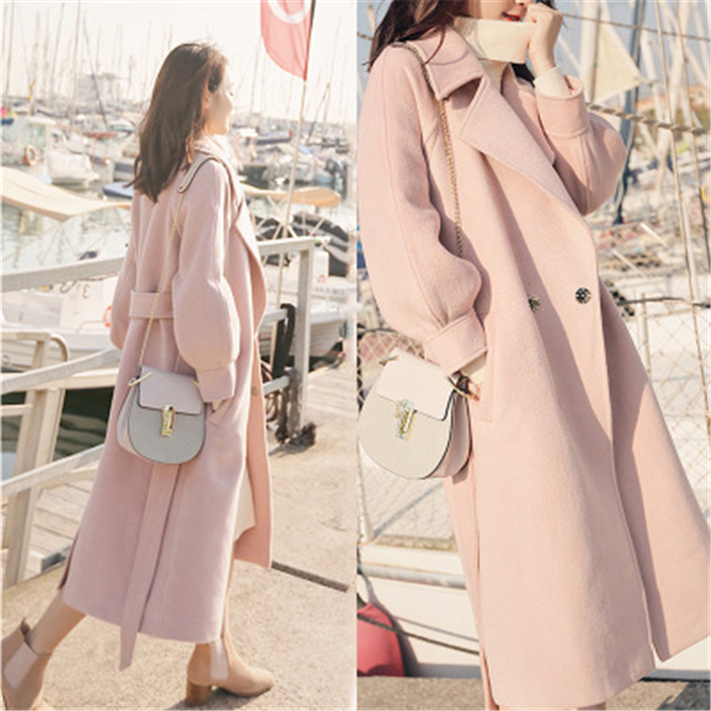Winter Women Woolen Overcoat New Long Lantern Sleeves Woolen Coat Winer Large Size Female Long Section Thick Woolen Coat(China)