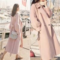Winter Women Woolen Overcoat New long lantern sleeves woolen coat Winer Large Size female long section thick woolen coat