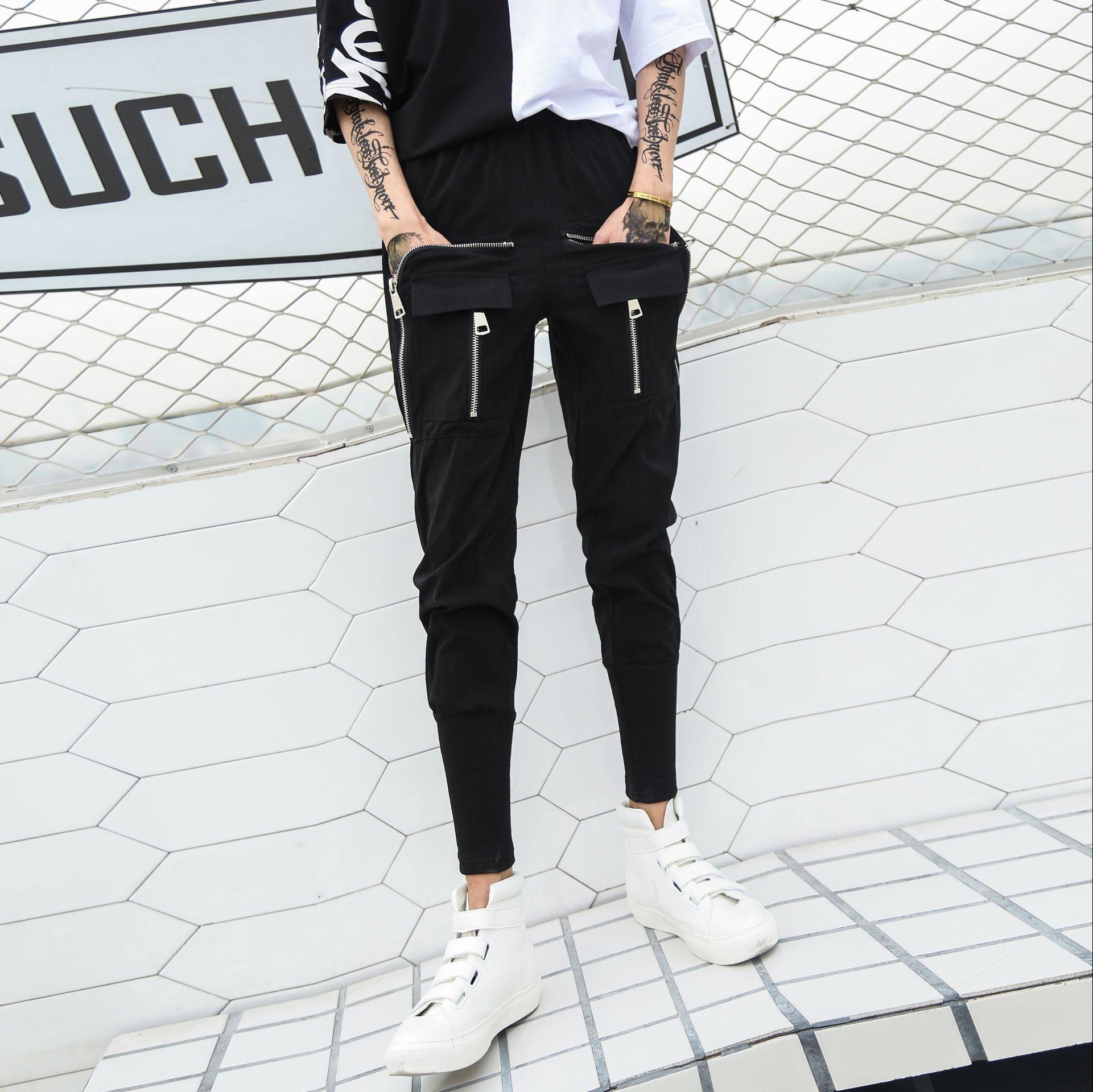 Pantalon Noir Moulant Survêtement Joggeurs Hommes Discothèque Mode Loisirs Personnalité Éclair Coton 2019 Hip Foncé Fermeture Poches Hop Bleu Mince Pantalons De UqRSHw