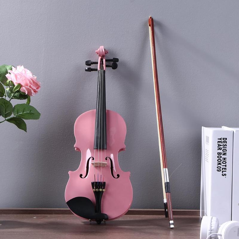 1/8 Formato Gloss Naturale Acustica Violino Violino Violino con il Caso Bow Rosin Strumento Musicale Rosa Strumento Per Principianti di Acero