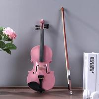 1/8 Size Gloss Natural Acoustic Violin Fiddle Violin with Case Bow Rosin Musical Instrument Pink Instrument For Beginner Maple