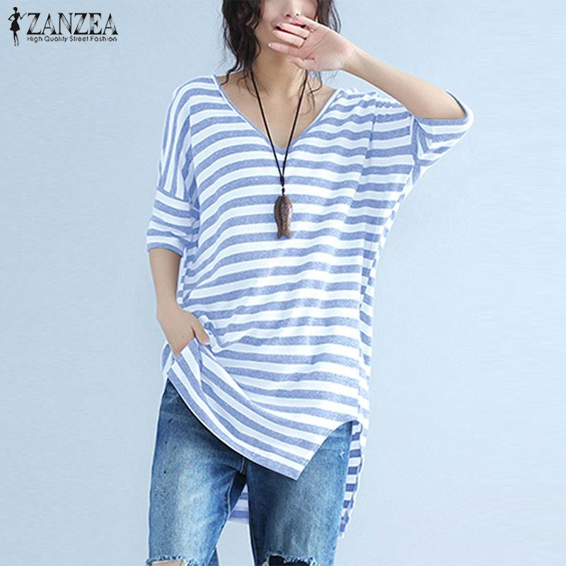 Fashion Striped Tops Women's Summer Blouse 2019 ZANZEA Female Casual V Neck Tunic Tops Lady Split Short Sleeve Shirt Chemise 5XL