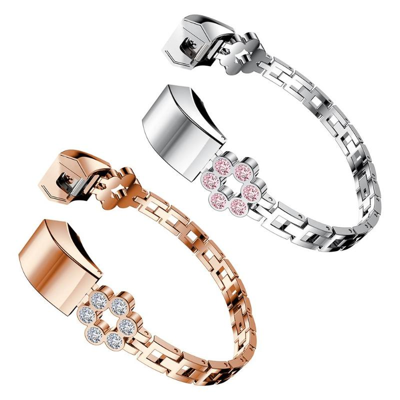 Jewelry Bangle Rhinestone Flower Bracelet Watch Band Strap for Fitbit Alta