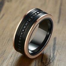 8MM Tungsten Carbide Men Eternity Rings Two Tone Luxury Black CZ Stone Rose Gold Side Wedding Band Men Super Jewelry