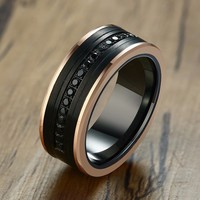8MM Tungsten Carbide Men Eternity Rings Two Tone Luxury Black CZ Stone Rose Gold Side Wedding Band Men Super Jewelry