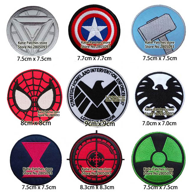 100pcs Marvel Avenger Logo Iron On Embroidered Patch Super Hero Fabric Patch Kid Jacket Jean Clothing