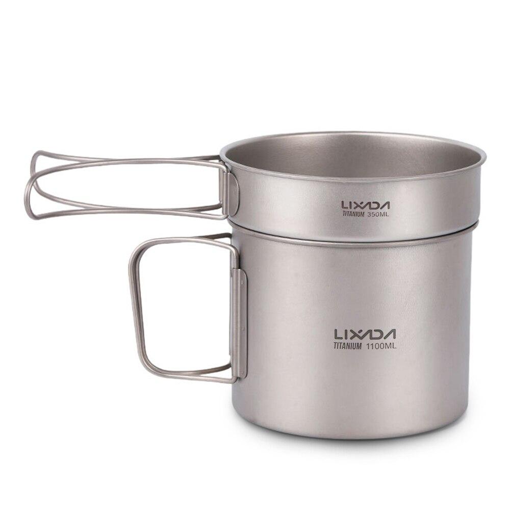 Lixada Ultralight Titanium 1100ml Pot and 350ml Fry Pan Cookset Outdoor Camping Picnic Cookware Set with Folding Handles
