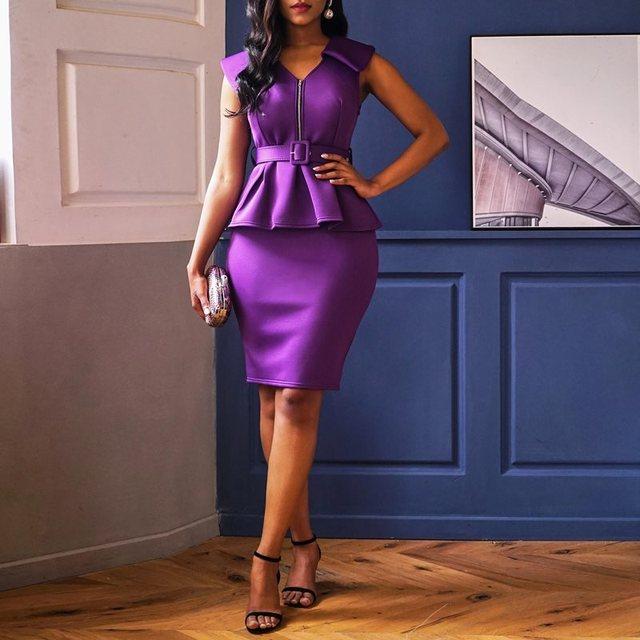 Ruffles Party Elegant Purple Office Lady Women Pencil Dresses Bodycon High Waist Zipper Falbala Summer 2 Pieces Female Dress