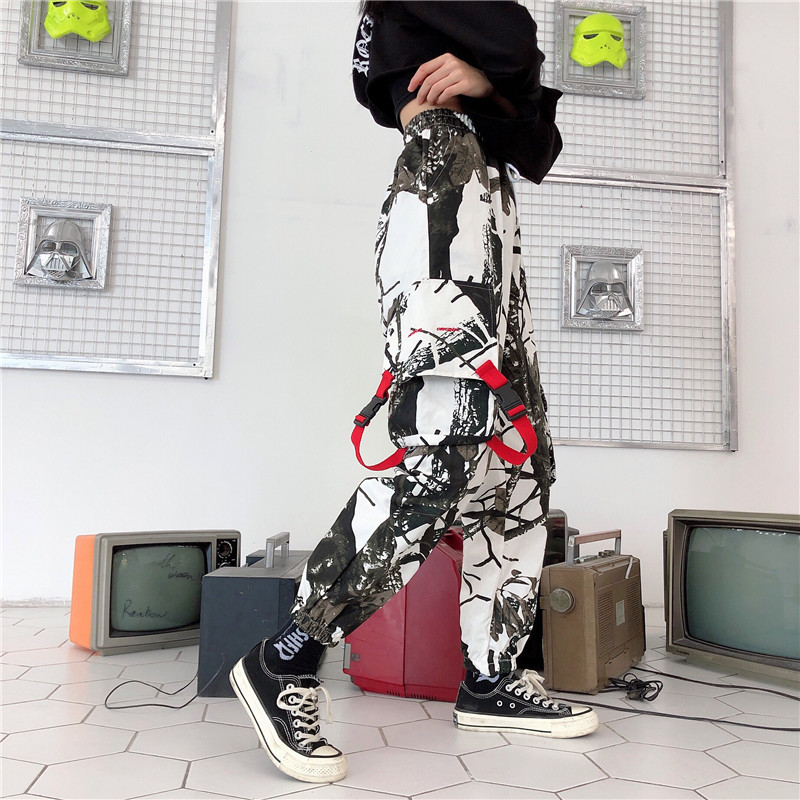 England Style Camouflage Spring Joggers Women 2019 Korean Fashion High Waist Cargo Pants Patchwork Loose Casual Harem Pants Thin