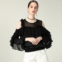 2019 spring and summer new arrival off-shoulder ruffled solid shirt women chiffon fashion blouse mujer CYA001 off the shoulder ruffled blouse for women